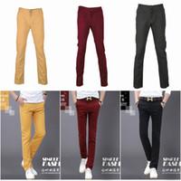 Wholesale Men Cotton Casual Long Pants Classical Straight Pants Slim Trousers Colors Choose EKS