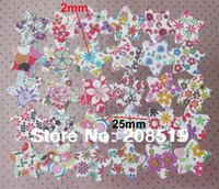 Cheap WB0106 100pcs Mix Patterns 25mm wood buttons Star shape DIY scrapbook accessories