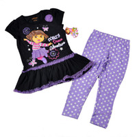 Wholesale 24set Summer DORA Girl Sets Black Short Sleeve Dress Star Legging Piece Suit kids clothing Childrens Outfits set HX