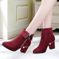 Wholesale 2016 Spring Fashion Nubuck Leather High Heeled Boots Shoes Black Red British Style Pointed Toe Heel Martin Ankle Motocycle Women Boots Shoes