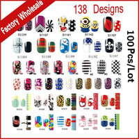 Wholesale 138Designs Hot Nail Art Stickers sheet Adhesive Nail Tips Polish Decals Wrap Patch Finger Nail Manicure Decoration Tools