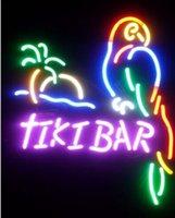 al por mayor vidrio loro-Tiki Bar Parrot de vidrio real Neon Light Beer Beer Señal