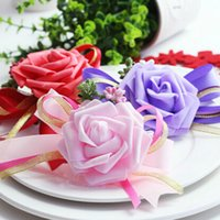 Cheap Handmade Brides,Bridesmaids,Wedding Bouquet Hand Rose Flowers Wrist Corsage Party Decoration MO149