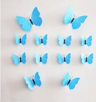 Wholesale ZY home stereo Butterfly Stickers home accessories bedroom wall TV background with double sided adhesive paste