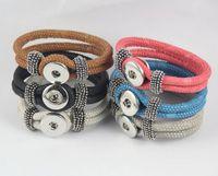 Wholesale Unisex Bracelet Jewelry Hot Leather Bracelet Fit Snap Buttons DIY Fashion PU Leather Snap Jewelry Bracelets Women Gifts QN