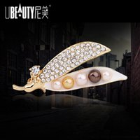bean manufacturers - Factory Foreign trade manufacturers new jewelry diamond brooch shawl high grade pearl brooch pin buckle seasons peace bean wholesa