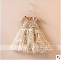 sundresses - 2015 New Arrival Baby Girls Sleeveless Dress Three Colors Sweet Embroidered Childrens Princess Sundress