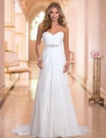 Wholesale Charming Casual Beach Wedding Dresses Cheap Under Chiffon Sexy Wedding Dress Sweetheart Crystal Beaded Bridal Gown Wedding Dress