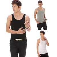 Wholesale 2015 Hot Mens Sports Summer Style Elastic Breathable Vest Wide Shoulder Modal Tank Top Fast Shipping