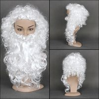 Wholesale White Short Kinky Curly Christmas Santa Claus Cosplay Synthetic Head Hair Wigs Cheap Old Man Male With Beard BE3079 a Wig cap