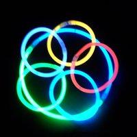Wholesale 100 x7 quot Multi Color Glow Stick Bracelet Necklaces Neon Party LED Flashing Light Stick Wand Novelty Toy LED Vocal Concert LED Flash Sticks