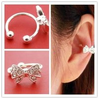 Wholesale Fashion Womens Bowknot Bow Rhinestone Crystal Silver Brincos Ear Bone Clip On Earrings Ear Cuff