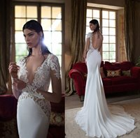 Cheap Berta Bridal 2015 Backless Wedding Dresses Lace Applique Mermaid Sheer Long Sleeves Chapel Train Chiffon 2014 Wedding Gowns Arabic Vestidos