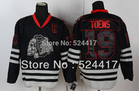 chicago - 2013 Stanley cup champion New Chicago Blackhawks Jersey Jonathan Toews Jersey black ice skull Jersey Stitch sewn