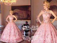 Reference Images One-Shoulder Tulle 2014 Evening Dresses Arabic Dubai Abaya Kaftan Ball Gown One shoulder Floor Length Tulle Pink Applique Embroidery Beads Crystal Beading