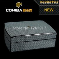 Wholesale Cigar box COHIBA cigar humidor carbon fiber cedar wood humidor Capacity about
