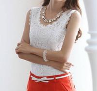 Wholesale Korean Halter Tops - 2016 New Korean Female Bottoming Vest Sleeveless Vest Plus Size Lace Halter Top T-shirt V#0005