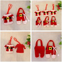 bags trousers - Cute Christmas Cutlery Holder Set Clothes Trousers Shape Knife Fork Spoon Portable Storage Bag Covers Tableware Xmas Decoration Free DHL