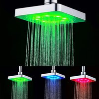 arm temperature - 6 quot inch Square temperature control LED Shower head without shower arm