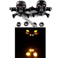 Wholesale Motorcycle accessories COOL BLACK SKULL Harley Davidson motorcycle steering lamp lights and turn signal lamp electric modification