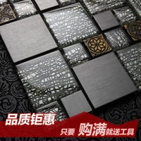 Wholesale Jasmine crystal glass mosaic tile puzzle backdrop modern metal steel entrance Wall Stickers