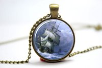 american sailing ships - 10pcs Nautical Sailing Ship Pendant Ship On The Ocean Charm With Necklace Bronze Glass Photo Cabochon Necklace