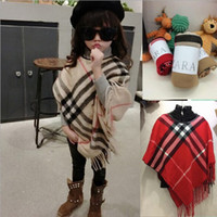 wholesale cotton scarves - Girls Fashion Wraps Children New Autumn and Winter Scarves Tassel Scarves Kids Plaid Cotton Shawl Scarves Fashion Shawls