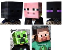 paper face mask - 2015 New Minecraft CREEPER MASK Steve Zombie Box Heads toys suit for using Minecraft Sword Pickaxe Foam for Party masks