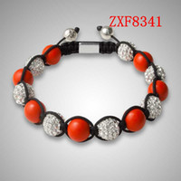 Wholesale 2016 red Nialaya New party Birthday gift Bracelet Shamballa crystal stone tresor Diamonds ball alloy Silver Plated women is bracelet ZXF8341