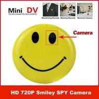 Wholesale Mini HD P Smiley Smile Face Brooch Broach Hidden Pinhole spy Camera Camcorder Cam Video DVR Recorder CCTV Car DVR