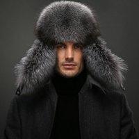 Wholesale Wool fox grey fur sheep leather bomber hat Real raccoon flix cold resistance headgear Winter warm head wear Beanies