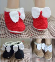 Wholesale 0 months cute bows girl toddler boots wool fabrics soft bottom casual baby snow boots children handmade shoes pair B3