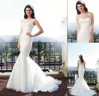 Wholesale 2015 Vintage Mermaid Sheer Wedding Dresses White Organza Applique Lace Bridal Gowns Spring Vestido De Noivas Greek Corset Spring Bride Dress