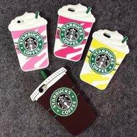3D de la manera de café de Starbucks taza de helado de simulación de gel suave cubierta de silicona de la caja de silicona para el iPhone 5 5S 6 4.7