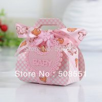 baby favor tags - Card Paper Baby Bear Favor Box With Ribbon Bow and Tag Baby Shower Candy Box Baby Chocolate Box
