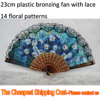 Wholesale Spainsh Plastic Bronzing Fabric Lace Folding Hand Fans Wedding Birthday Fan Kinds Of Floral Patterns ppbag patterns