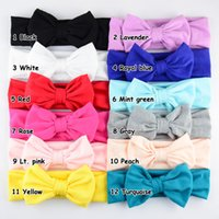 big hair bow ties - 12 cm bow New Children Knitting big Bow Tie Bandanas Girl Baby Cotton Headbands Hair Accessories Lovely Bunny Ear