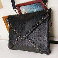 Cheap 1PC New 2014 Fashion Korean Designer Rivet Envelope Single Shoulder Women Bags Skull Clutch Crossbody Punk Brand Handbags 870328