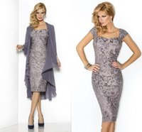 Wholesale 2015 Hot Mother s Dresses with Chiffon Wraps Plus Size Graceful Gray Lace Mother of the Bride Groom Dresses Capped Sleeves Cocktail Dresses
