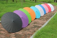 paper parasols - Bridal umbrellas Fancy Chinese paper parasols Straight sunshade Handmade diameter inches solid color Hot sale Drop shipping