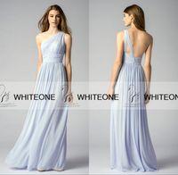 Wholesale 2015 Blue Chiffon Bridesmaid Dresses One Shoulder Bridesmaid Dresses Cheap Backless Summer Beach Bridemaid Dresses Maid Of Honor Dress HOT