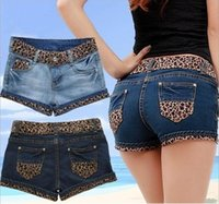 big old lady - summer new women s jeans do the old frayed denim shorts Europe stitching Leopard Lady casual shorts big yards F1963