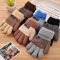 Wholesale New Arrival Autumn And Winter Child Gloves Thick Warm Cashmere Gloves Boy Girl Five Fingers Gloves Baby Kids Knitted Glove