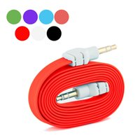 Wholesale Black mm Stereo Auxiliary Cable Male to Male Flat noodle Audio Music Aux Cord Colors Pick For Iphone Sumsung
