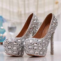 Wholesale Elegant wedding Shoes round toe silver rhinestone High Heels Bridal dress Shoes platform crystal Bridesmaid dress Pumps styles