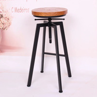 Wholesale Iron loft American country chairs the rotating wood bar stool bar chair creative leisure