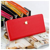 Wholesale 2013 NEW Fashion Ladies Candy Color Wallet Pearl Chain Zipper PU Leather Purse Card Holder