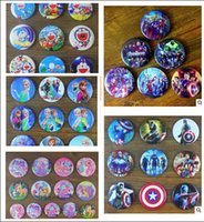 stainless steel collar - 24pcs Avengers Cartoon Button Pin Badges Frozen Brooches cm Pins Party Badge Collar Clip Button R1047
