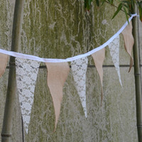 airlines photos - Vintage Style Lace Wedding Flag Banner Line Fabric Bunting Flags Jute Hessian DIY Home Decoration Banner Event Party Photo Booth Props