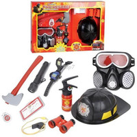 Wholesale Christmas gifts Simulation fire the tools set fire cap children s toy fireman helmet fire extinguisher gas masks